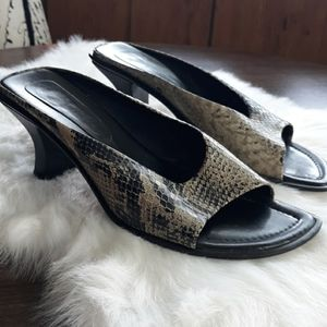 Franco Sarto slip on heels snake print gray black